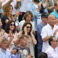 Ana Maria Parera (la mère de Rafael Nadal), Maria Isabel Nadal (sa petite soeurl) avec son compagnon Pep Juaneda et Xisca Perello, la compagne de Rafael Nadal - L'Espagnol gagne son onzième titre au tournoi de Roland-Garros face à Dominique Thiem à Paris, le 10 juin 2018. © Jacovides/Moreau/Bestimage