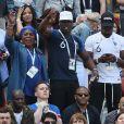 Isabelle Griezmann, Yeo Pogba, Florentin Pogba, Mathias Pogba, Isabelle Matuidi et sa fille Myliane - Célébrités dans les tribunes lors du match de coupe de monde de la France contre l'Australie au stade Kazan Arena à Kazan, Russie, le 16 juin 2018.
