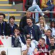 Le chanteur Vianney (Vianney Bureau), Nagui, sa femme Mélanie Page, Jean-François Piège, Bruno Guillon - Célébrités dans les tribunes lors du match de coupe de monde de la France contre l'Australie au stade Kazan Arena à Kazan, Russie, le 16 juin 2018.