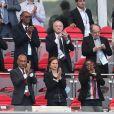Nicolas Sarkozy, Jean-Michel Aulas, le président de la Fédération Francaise de Football (FFF) Noël Le Graët et Laura Flessel-Colovic, ministre des Sports - Célébrités dans les tribunes lors du match de coupe de monde de la France contre l'Australie au stade Kazan Arena à Kazan, Russie, le 16 juin 2018.