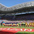 L'équipe de France et l'équipe d'Australie - Match de coupe du monde de la France contre l'Australie au stade Kazan Arena à Kazan, Russie, le 16 juin 2018. La France a gagné 2-1.