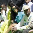 Travis Scott, sa compagne Kylie Jenner, Kim Kardashian et Kanye West au défilé homme printemps-été 2019 Louis Vuitton, signé Virgil Abloh, au Palais-Royal à Paris, le 21 juin 2018. © Olivier Borde / Bestimage