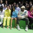 Travis Scott, sa compagne Kylie Jenner, Kim Kardashian, Kanye West et Jordyn Woods au défilé homme printemps-été 2019 Louis Vuitton, signé Virgil Abloh, au Palais-Royal à Paris, le 21 juin 2018. © Olivier Borde / Bestimage