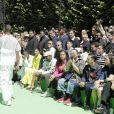 Travis Scott, sa compagne Kylie Jenner, Kim Kardashian, Kanye West, Jordyn Woods, Takashi Murakami au défilé homme printemps-été 2019 Louis Vuitton, signé Virgil Abloh, au Palais-Royal à Paris, le 21 juin 2018. © Olivier Borde / Bestimage