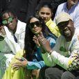 Travis Scott, Kylie Jenner, Kim Kardashian, Kanye West et Jordyn Woods au défilé homme printemps-été 2019 Louis Vuitton, signé Virgil Abloh, au Palais-Royal à Paris, le 21 juin 2018. © Olivier Borde / Bestimage