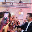 Le président de la République Emmanuel Macron - Pour la première fois dans l'histoire du palais présidentiel, le président de la République française et sa femme la Première Dame ont ouvert au grand public les portes du palais de l'Élysée pour la Fête de la musique à Paris, France, le 21 juin 2018. © Hamilton/Pool/Bestimage