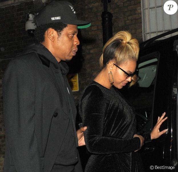 """Beyonce et son mari Jay-Z à la sortie du """"Arts Club"""" à Londres, le 21 juin 2018."""
