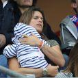 Amélie Mauresmo et son fils Aaron Mauresmo lors du match du quart de finale de l'UEFA Euro 2016 France-Islande au Stade de France à Saint-Denis, France le 3 juillet 2016. © Cyril Moreau/Bestimage
