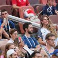 Erika Choperena (femme d'Antoine Griezmann) et Maria Salaues (compagne de Paul Pogba) - Célébrités dans les tribunes lors du match de coupe du monde opposant la France au Danemark au stade Loujniki à Moscou, Russia, le 26 juin 2018. Le match s'est terminé par un match nul 0-0. © Cyril Moreau/Bestimage