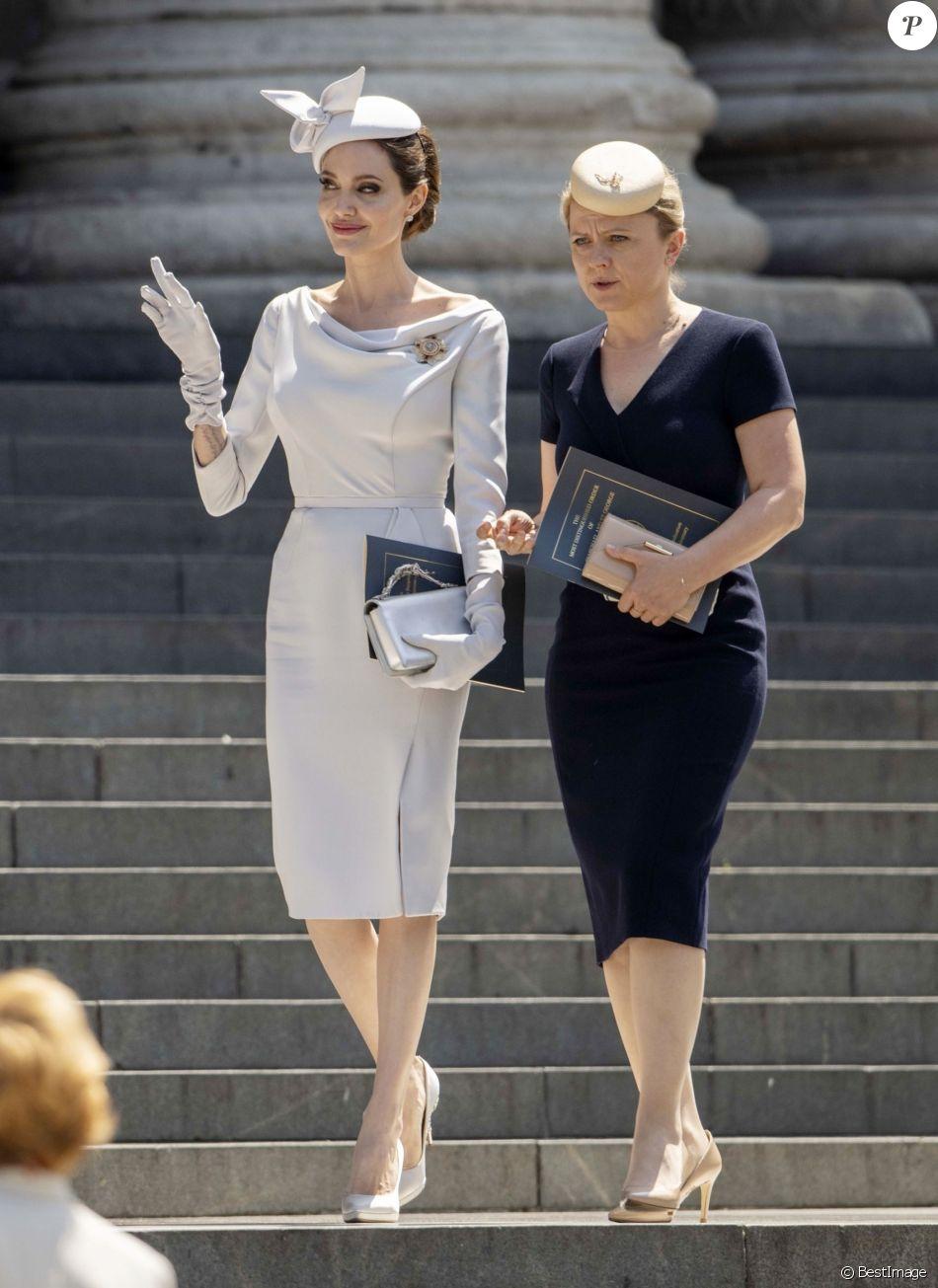 Angelina Jolie a assisté à la messe en l'honneur du 200ème anniversaire de l'Ordre de Saint-Michel et Saint-Georges à la cathédrale Saint Paul de Londres, le 28 juin 2018.