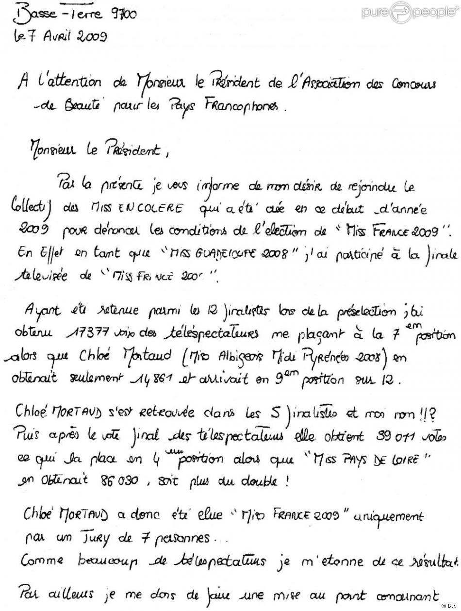 le lettre La lettre de Rébecca Erivan   Purepeople le lettre