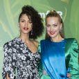 Noémie Lenoir et Petra Nemcova au photocall du dîner de l'amfaR à l'hôtel Peninsula Spa lors de la Fashion Week de Paris, France, le 4 juillet 2018. © Olivier Borde/Bestimage