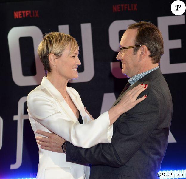 """Robin Wright, Kevin Spacey - Première de la saison 3 de la série """"House of Cards"""" à Londres. Le 26 février 2015"""