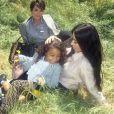 """Kris Jenner, Kim Kardashian et sa fille north West pour la campagne publicitaire """"#MeandMyPeekaboo"""" de Fendi. Juillet 2018."""