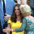La duchesse Catherine de Cambridge (Kate Middleton) et le prince William assistaient le 15 juillet 2018 à la finale du tournoi de Wimbledon, à Londres.