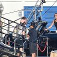 "Jennifer Aniston, Adam Sandler et Luke Evans sur le tournage de ""Murder Mystery"" à Santa Margherita Ligure en Italie, le 24 juillet 2018."