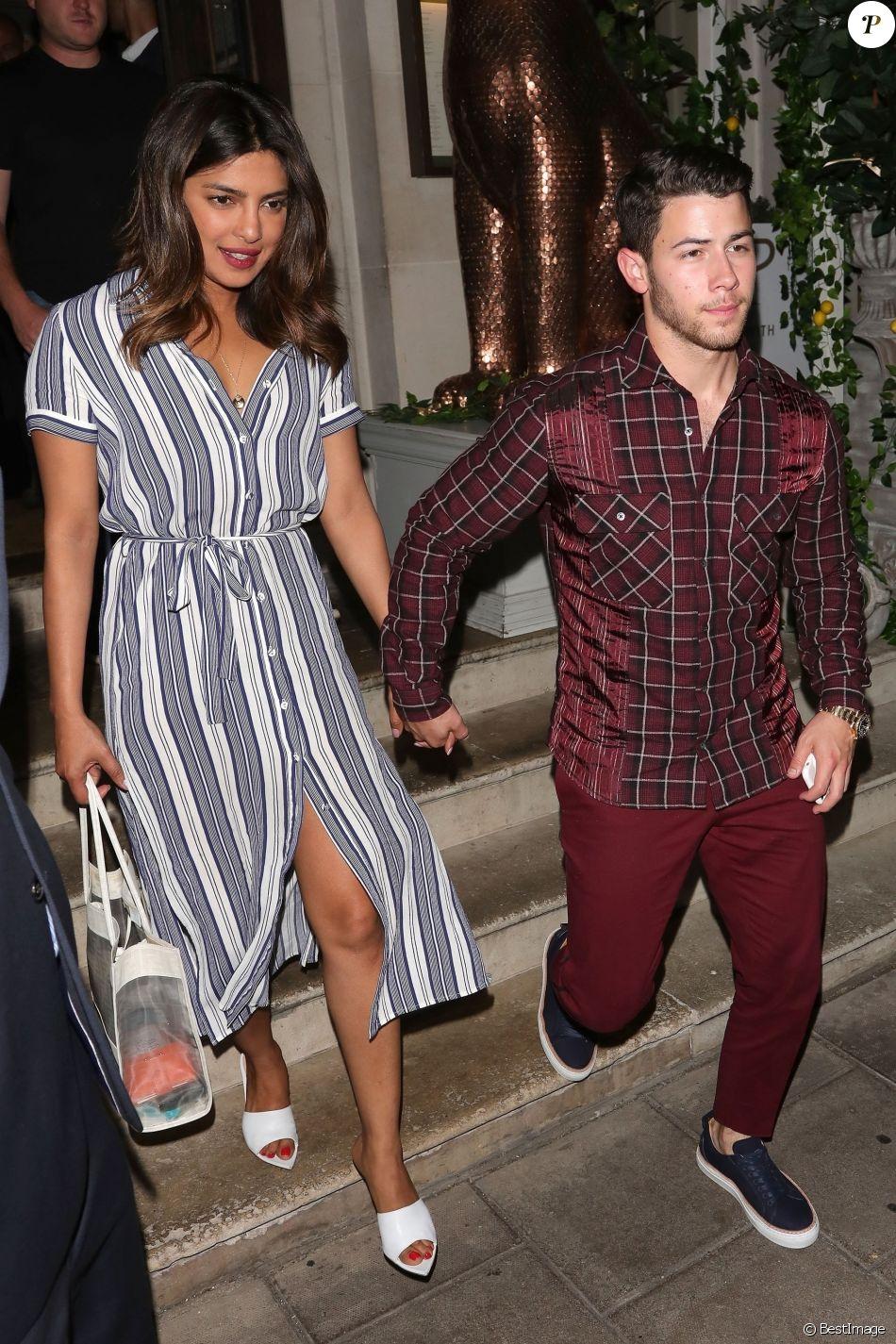 Nick Jonas et sa compagne Priyanka Chopra à Londres, le 16 juillet 2018.