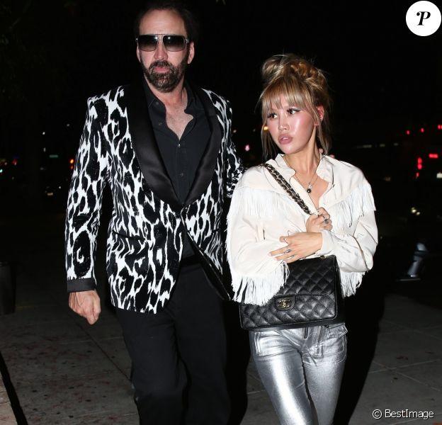 Exclusif - Nicolas Cage est allé dîner avec sa compagne Erika Koike à Beverly Hills, le 21 mai 2018. Il porte une veste à motif zebre.