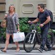 Ben Stiller et son ex-femme Christine Taylor vont déjeuner ensemble à Tribeca. New York, le 30 juillet 2018.