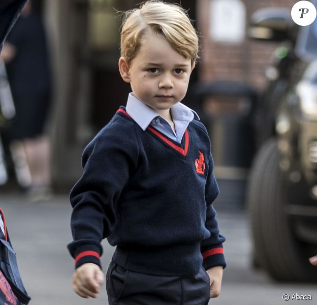 Le prince George de Cambridge lors de sa rentrée des classes le 7 septembre 2017 à Londres, à l'école Thomas's Battersea.