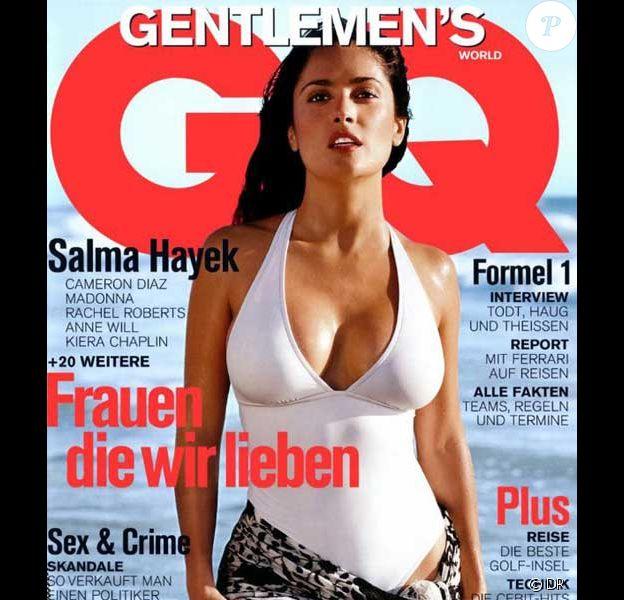 Salma Hayek pose pour la couverture du magazine GQ, édition allemande