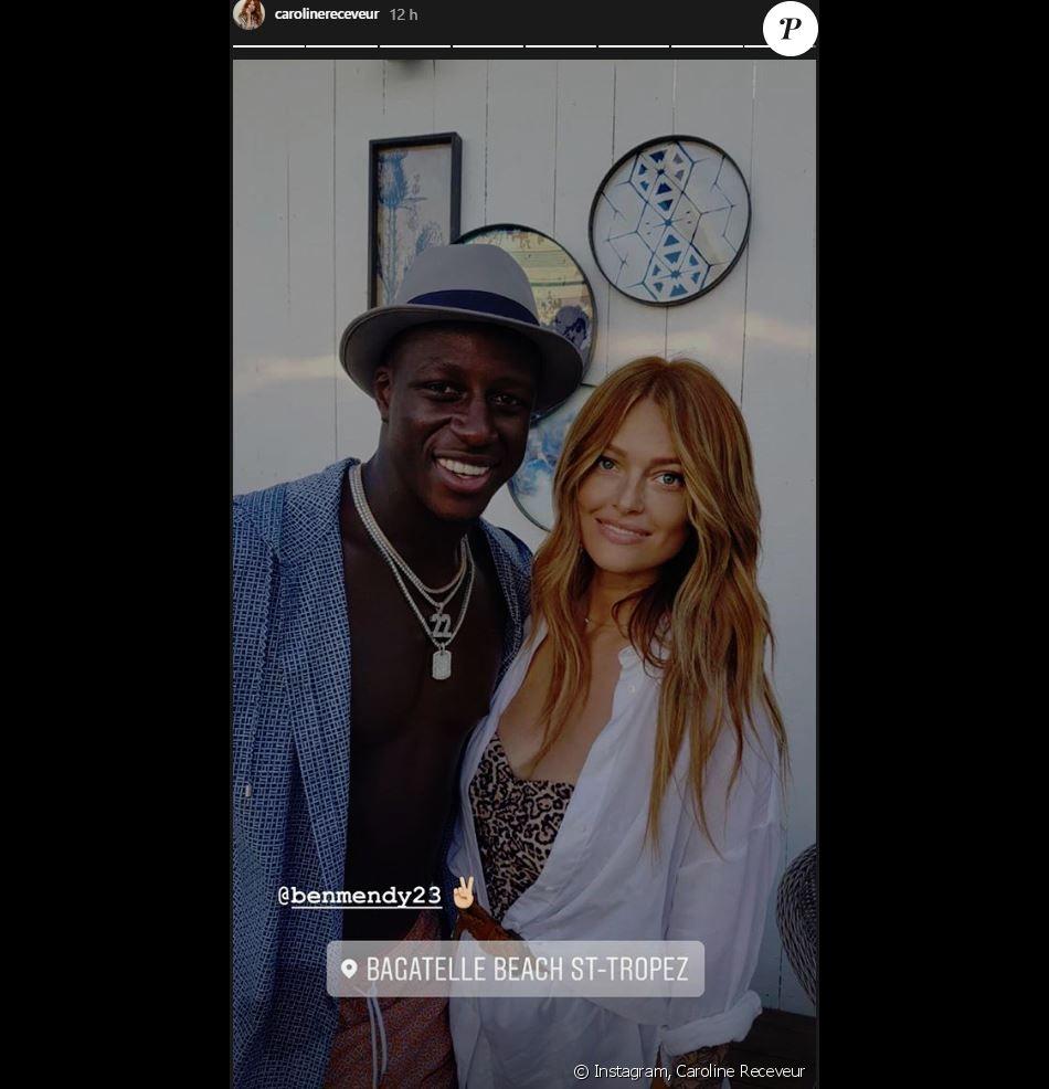 Caroline Receveur et le footballeur Benjamin Mendy à Saint-Tropez - Instagram, 7 août 2018