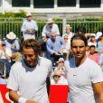 Lucas Pouille a battu Rafael Nadal (7-6 [10], 7-5) lors d'une exhibition en préparation à Wimbledon le 29 juin 2018