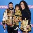 Dj Khaled avec sa femme Nicole Tuck et son fils Asahd Tuck Khaled aux MTV Video Music Awards 2018 à New York, le 20 août 2018.