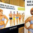 Une caricature d'Angela Merkel en sous-vêtements, sur les murs de Berlin