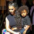 Kim Kardashian avec ses enfants Saint West et North West - Les Kardashians sont allés déjeuner avec leurs enfants au restaurant Carousel à Los Angeles, le 13 juillet 2018