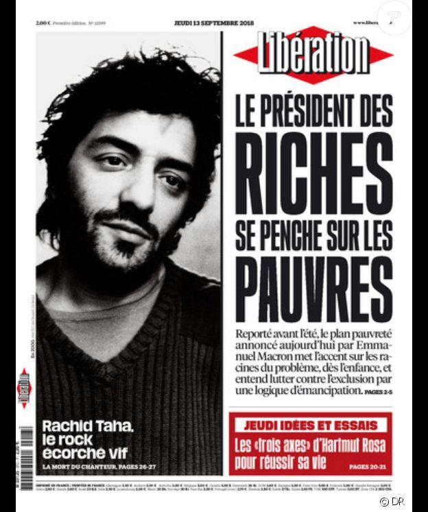 Rachid Taha en couverture de Libération, le 13 septembre 2018.