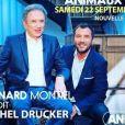"""Bernard Montiel de retour sur Animaux TV avec son émission """"Animaux Stars"""" le 22 septembre 2018 avec comme invité Michel Drucker."""