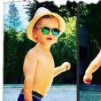 Tom, le fils d'Ingrid Chauvin, en vacances avec ses parents dans le Sud de la France. Août 2018.