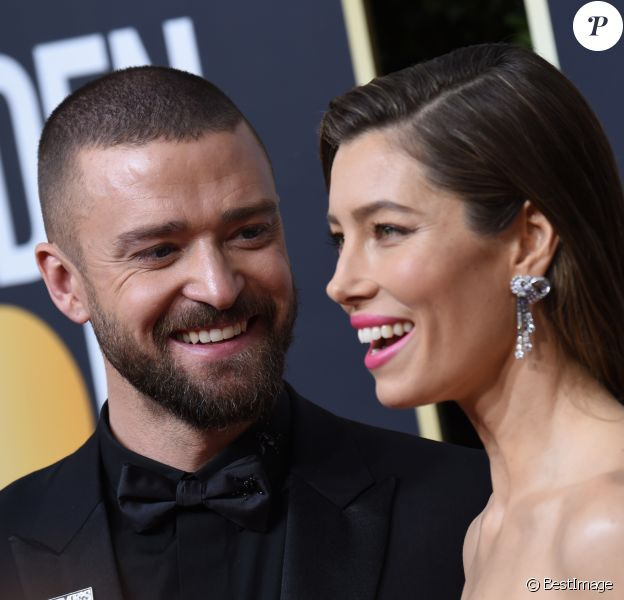 Justin Timberlake et sa femme Jessica Biel sur le tapis rouge de la 75ème cérémonie des Golden Globe Awards au Beverly Hilton à Los Angeles, le 7 janvier 2018.