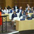 Amal Clooney lors d'un discours aux Nations Unies sur le thème de la justice et de la démocratie à New York le 28 septembre 2018. © Morgan Dessalles / Bestimage