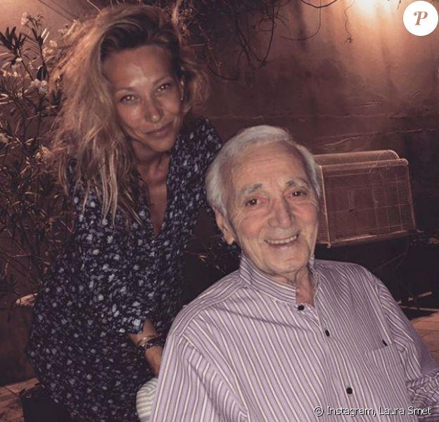 Laura Smet et Charles Aznavour posent ensemble le 25 juillet 2018.