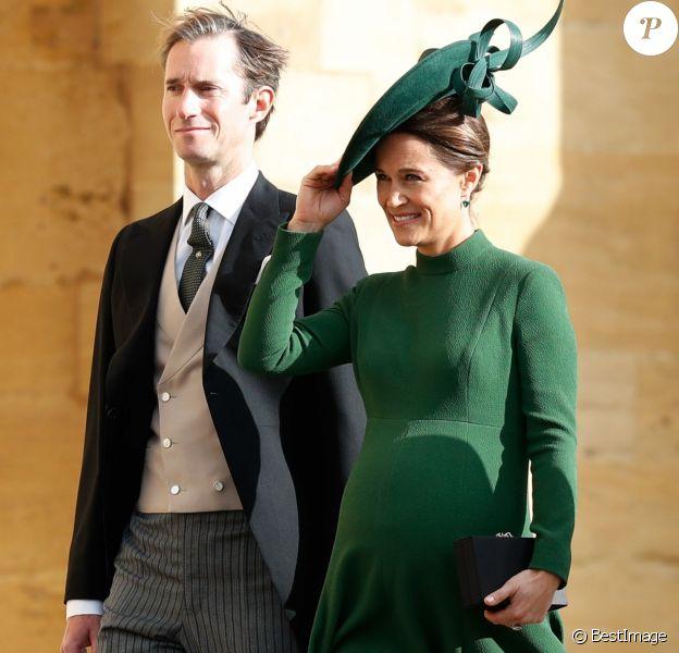 Pippa Middleton (enceinte) et James Matthews - Les invités arrivent à la chapelle St. George pour le mariage de la princesse Eugenie d'York et Jack Brooksbank au château de Windsor, Royaume Uni, le 12 octobre 2018.