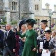 Pippa Middleton (enceinte) avec son frère James et son mari James Matthews à la chapelle St. George pour le mariage de la princesse Eugenie d'York et Jack Brooksbank au château de Windsor, Royaume Uni, le 12 octobre 2018.
