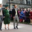 Pippa Middleton (enceinte) avec son frère James et son mari James Matthews - Les invités arrivent à la chapelle St. George pour le mariage de la princesse Eugenie d'York et Jack Brooksbank au château de Windsor, Royaume Uni, le 12 octobre 2018.
