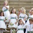 La princesse Charlotte, le prince George, Theodora Williams, la fille de Robbie Williams - Sorties après la cérémonie de mariage de la princesse Eugenie d'York et Jack Brooksbank en la chapelle Saint-George au château de Windsor le 12 octobre 2018.