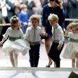 Lady Louise Mountbatten-Windsor, le prince George de Cambridge et la princesse Charlotte de Cambridge - Cérémonie de mariage de la princesse Eugenie d'York et Jack Brooksbank en la chapelle Saint-George au château de Windsor, Royaume Uni le 12 octobre 2018.