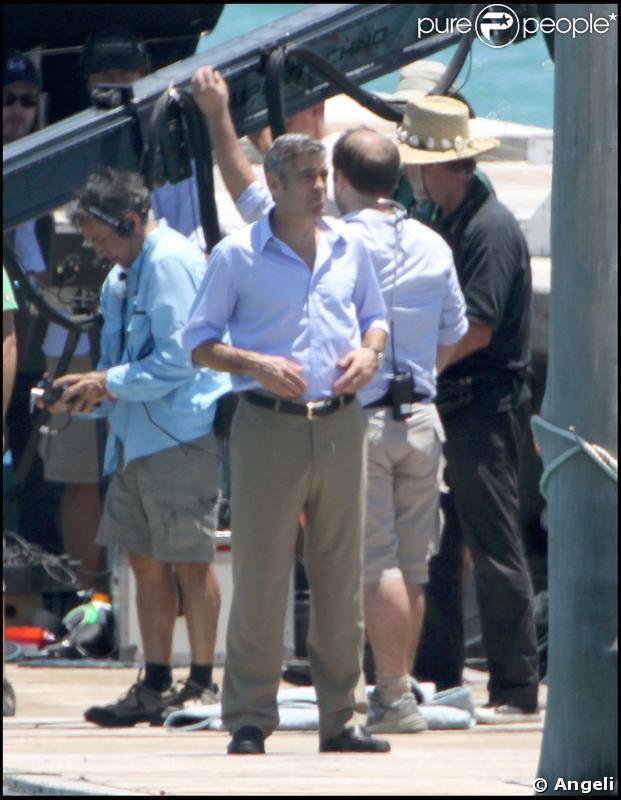 George Clooney sur le tournage à Miami de son nouveau film Up in the air réalisé par Jason Reitman le 11 mai 2009