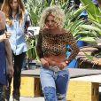 Britney Spears et Iggy Azalea sur le tournage de leur nouveau clip à Studio City, le 10 avril 2015.