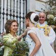La reine Sofia - Mariage de Fernando Fitz-James Stuart, duc de Huéscar et Sofía Palazuelo au palais de Liria à Madrid le 6 octobre 2018.