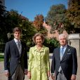 La reine Sofia, Carlos Fitz-James Stuart, duc d'Albe - Mariage de Fernando Fitz-James Stuart, duc de Huéscar et Sofía Palazuelo au palais de Liria à Madrid le 6 octobre 2018.