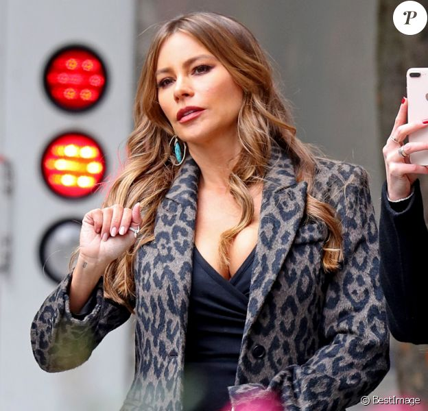 """Exclusif - Sofia Vergara pose lors d""""une séance photo avec des amies à New York le 26 octobre 2018."""