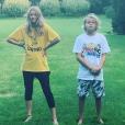 Gwyneth Paltrow publiant une photo de ses enfants Apple et Moses sur Instagram. Août 2018.
