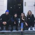 Gwyneth Paltrow, Chris Martin et leurs enfants Apple et Moses à Londres. Mars 2018.