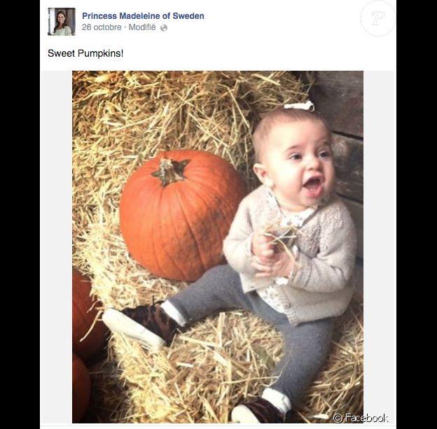 'Adorables citrouilles !' La princesse Madeleine de Suède a publié le 26 octobre 2014 cette photo de sa fille la princesse Leonore, prête pour Halloween !