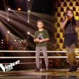 """Mélia, Mano et Rosie dans """"The Voice Kids 5"""" sur TF1, le 16 novembre 2018."""